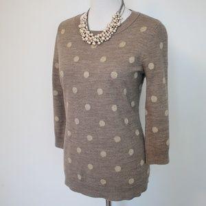 NEW YORK & CO Medium Sweater Brown Gold Polka dots